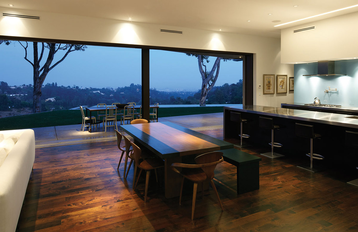 Dining Table, Views, Mandeville Canyon Residence in Los Angeles by Griffin Enright Architects