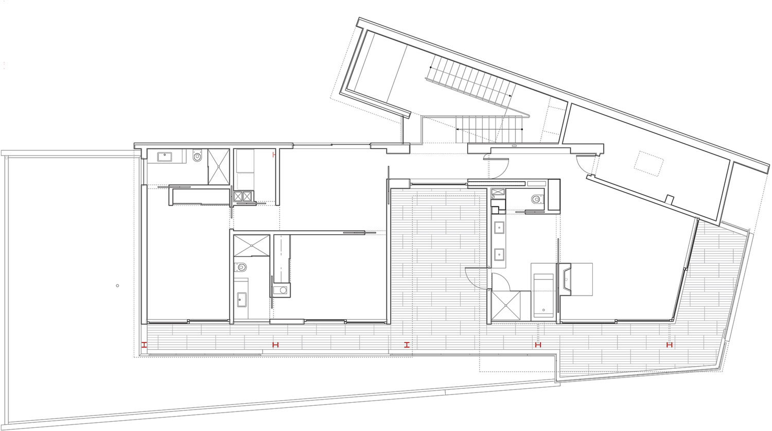 First Floor Plan, Mandeville Canyon Residence in Los Angeles by Griffin Enright Architects