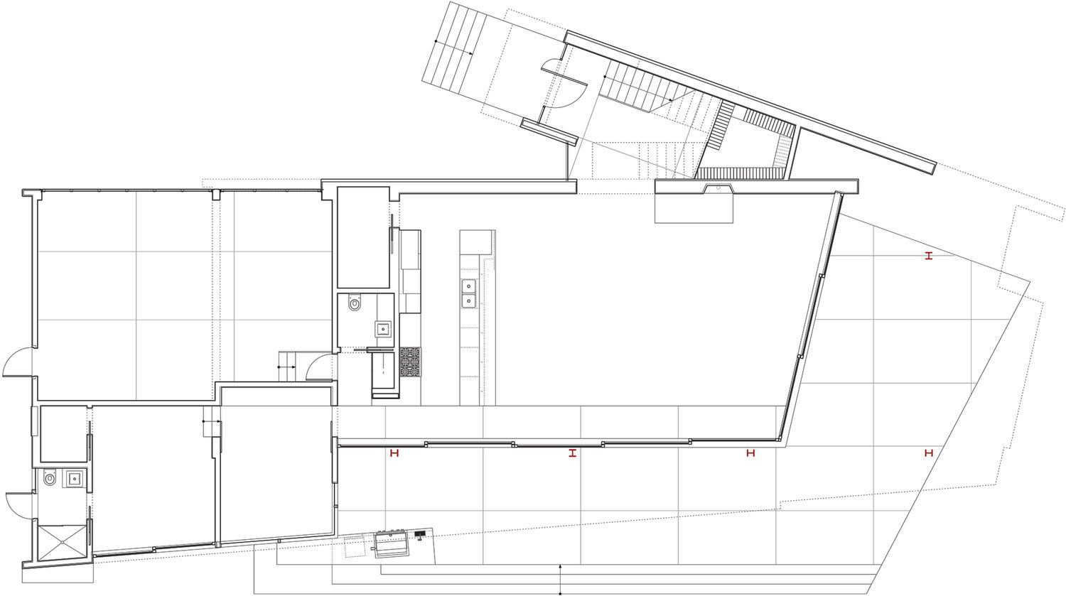Ground Floor Plan, Mandeville Canyon Residence in Los Angeles by Griffin Enright Architects