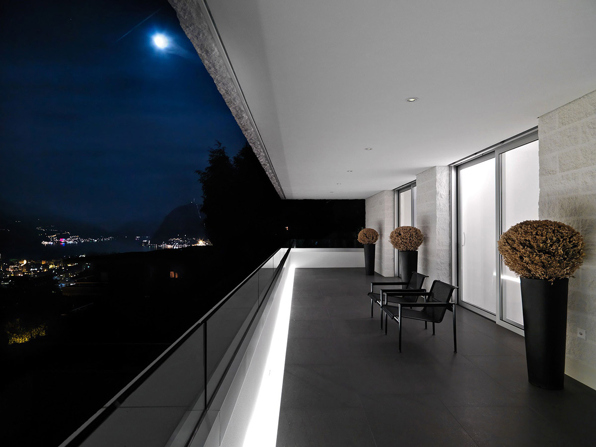 Balcony, Views, Minimalist Home in Lugano, Switzerland by Victor Vasilev