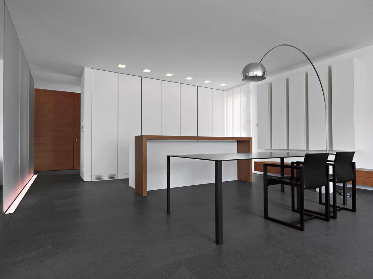 Dining Table, Lighting, Minimalist Home in Lugano, Switzerland by Victor Vasilev