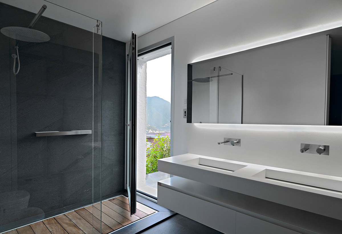 Glass Shower, Bathroom, Minimalist Home in Lugano, Switzerland by Victor Vasilev