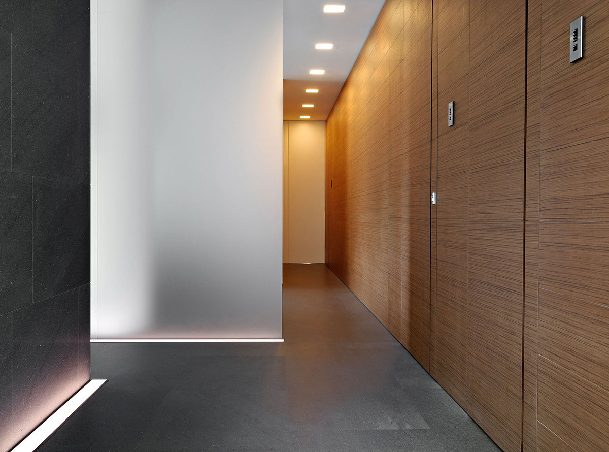 Hallway, Minimalist Home in Lugano, Switzerland by Victor Vasilev