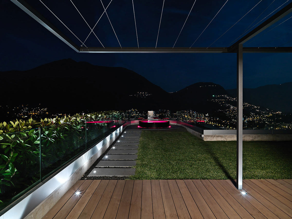 Jacuzzi with Pink Lighting, Minimalist Home in Lugano