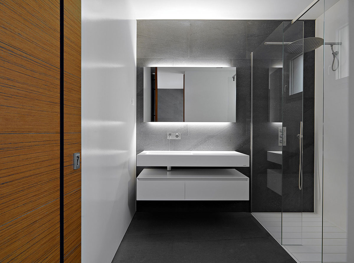 Modern Bathroom, Glass Shower, Minimalist Home in Lugano, Switzerland by Victor Vasilev