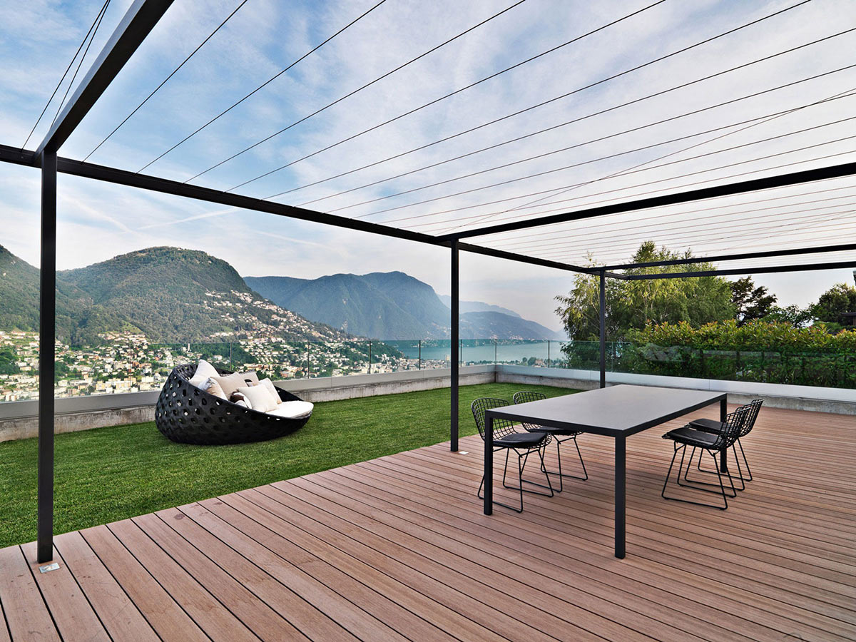 Terrace, Views, Minimalist Home in Lugano, Switzerland by Victor Vasilev