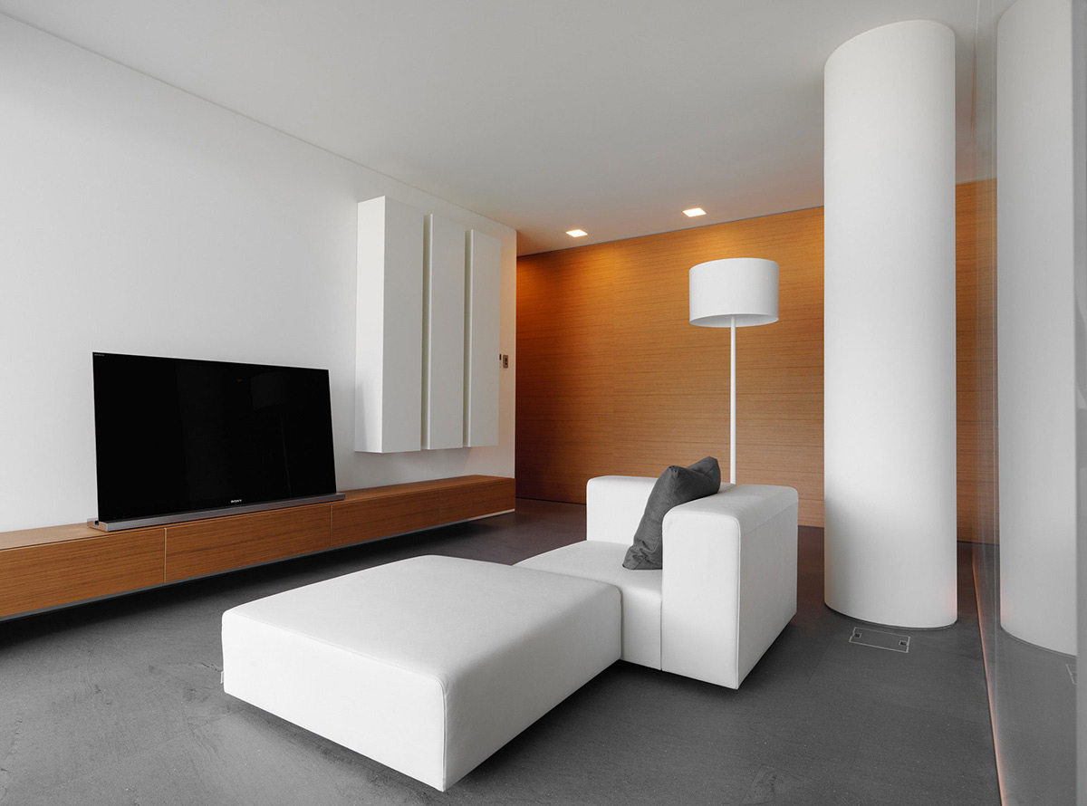 White Leather Sofa, Minimalist Home in Lugano, Switzerland by Victor Vasilev