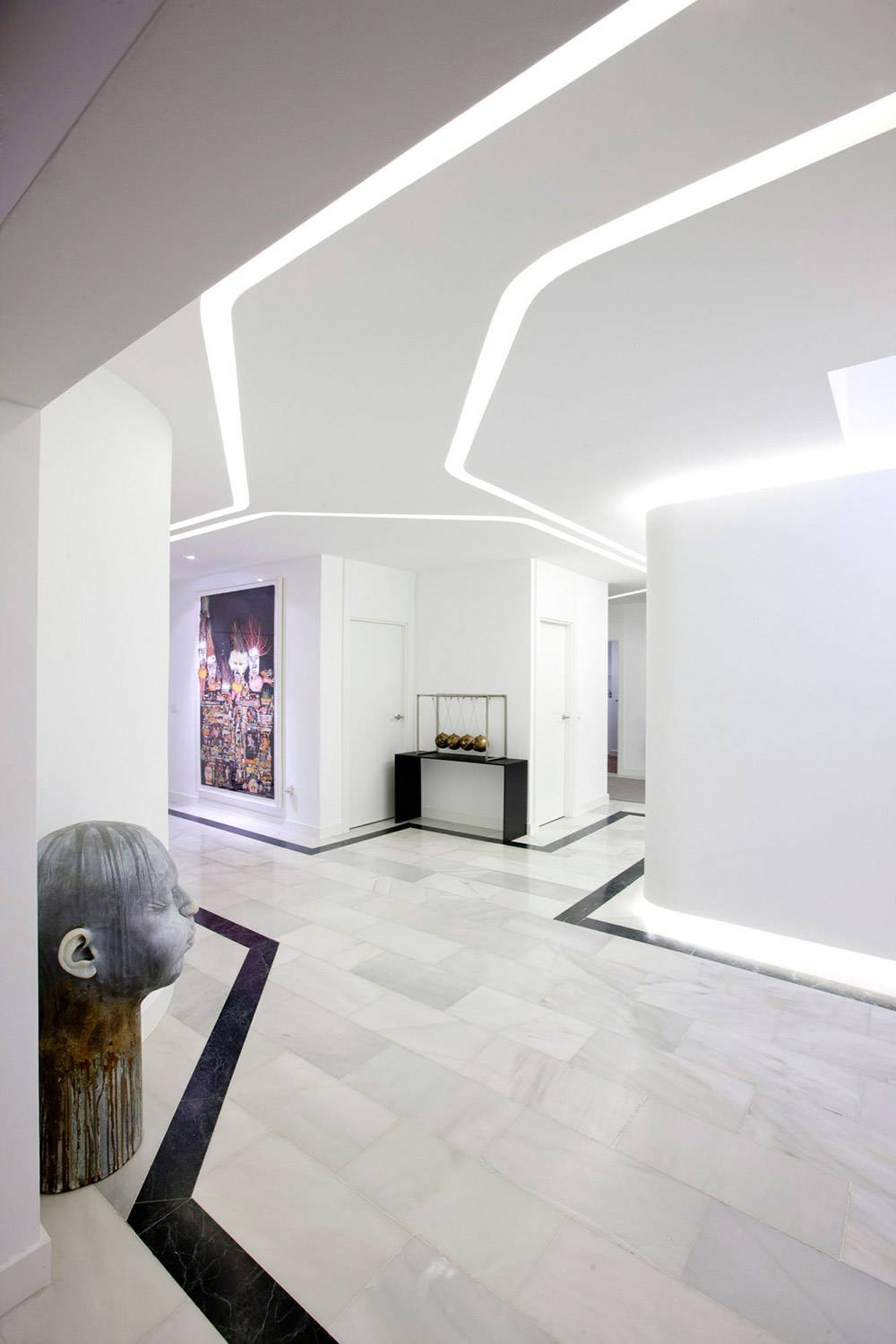 White Hallway, Modern Apartment in Madrid Designed by IlmioDesign