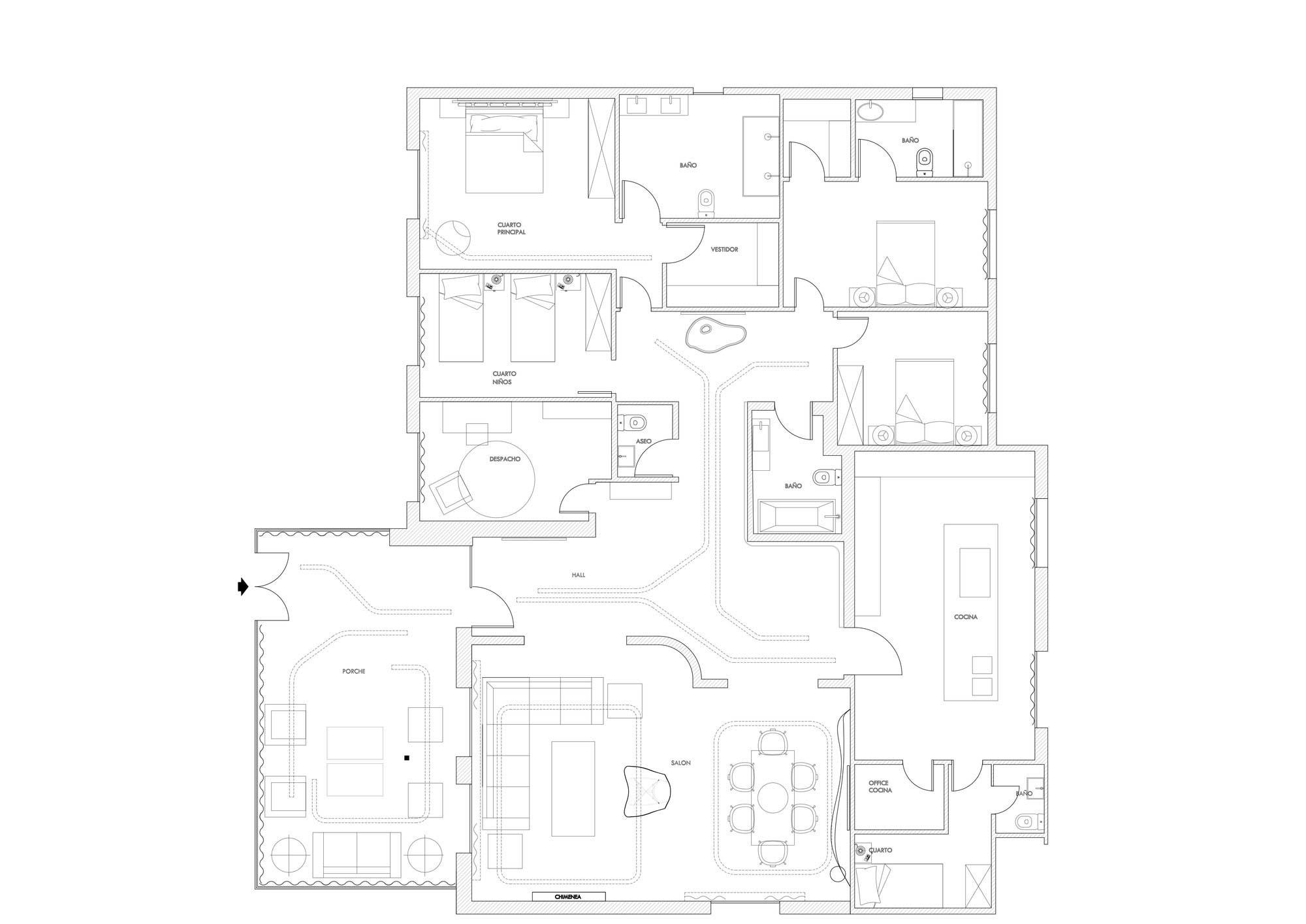 Floor Plan, Modern Apartment in Madrid Designed by IlmioDesign