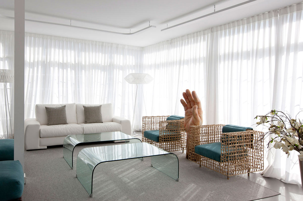 Glass Coffee Table, Modern Apartment in Madrid Designed by IlmioDesign