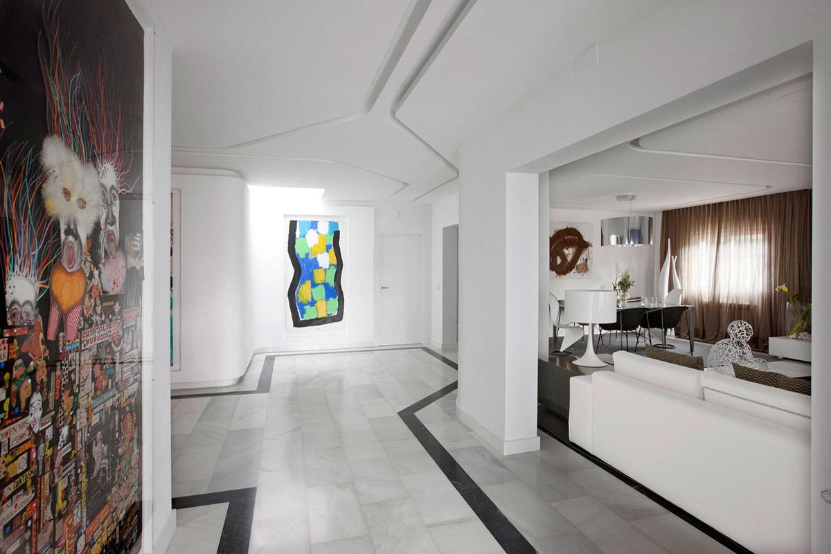 Marble Floor, Art, Modern Apartment in Madrid Designed by IlmioDesign