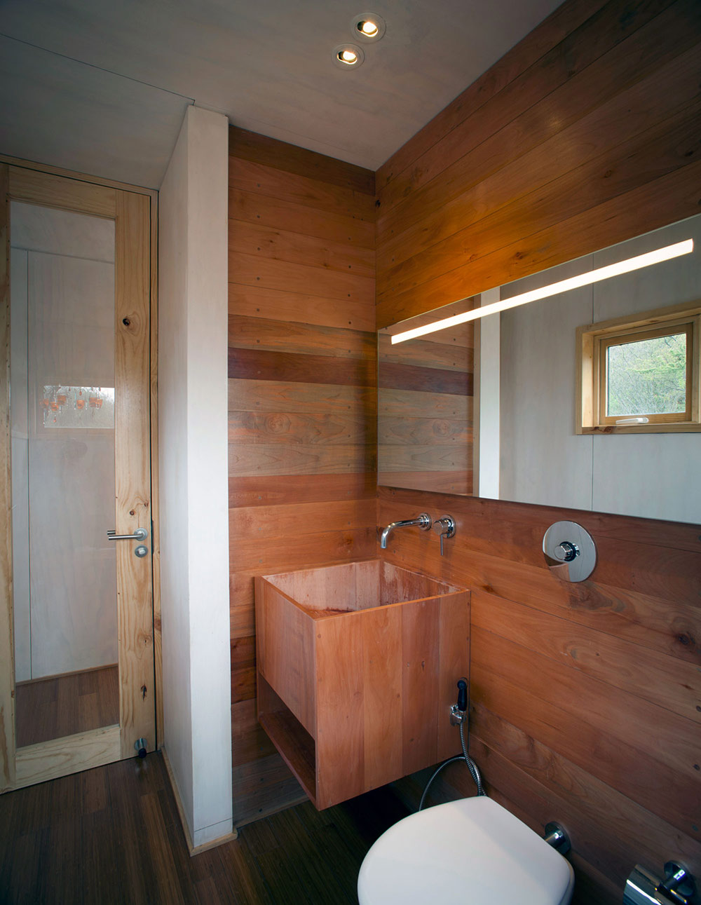 Bathroom, Wooden Sink, Pangal Cabin in Casablanca, Chile