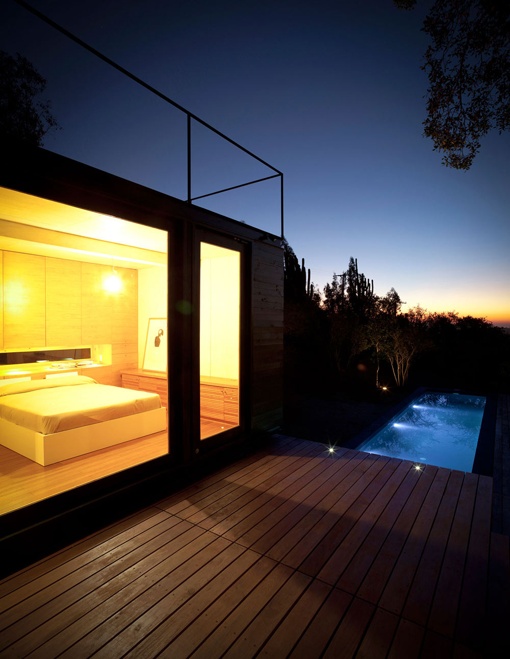 Bedroom, Deck, Pool Lighting, Pangal Cabin in Casablanca, Chile