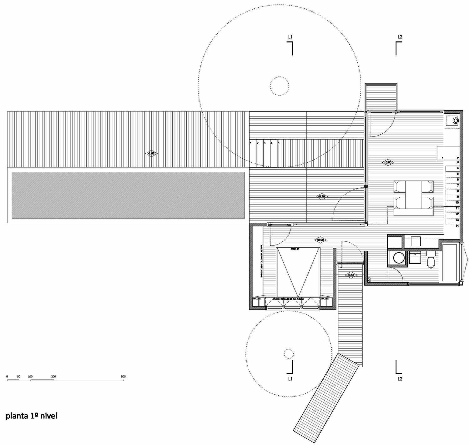 First Floor Plan, Pangal Cabin in Casablanca, Chile