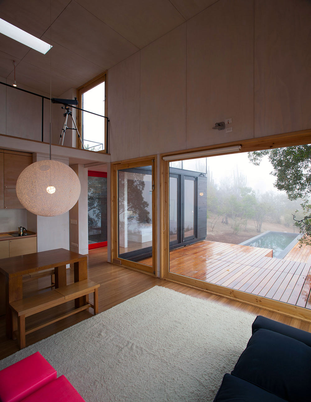 Living Space, Terrace, Pangal Cabin in Casablanca, Chile