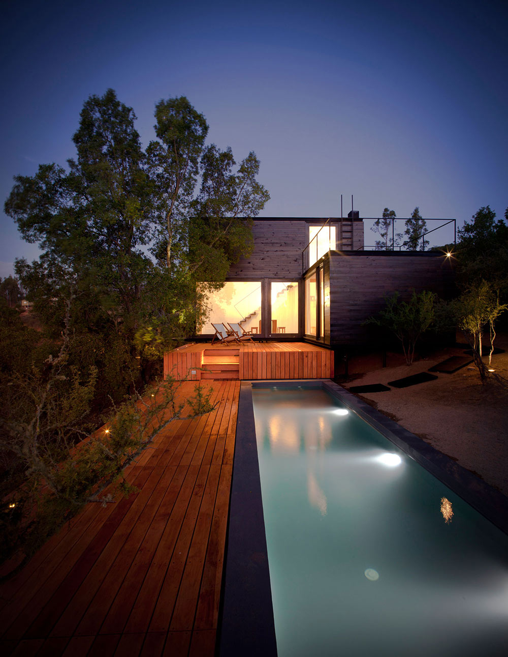 Deck, Pool Lighting, Pangal Cabin in Casablanca, Chile