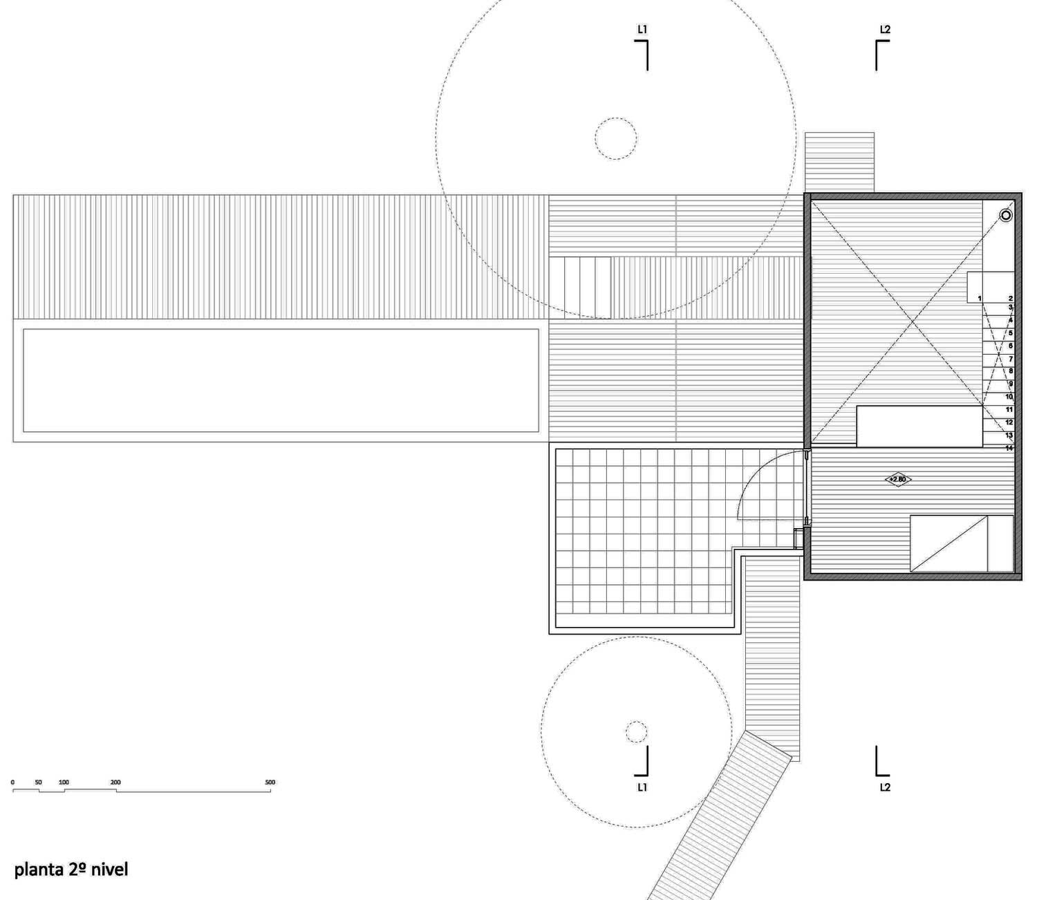 Second Floor Plan, Pangal Cabin in Casablanca, Chile