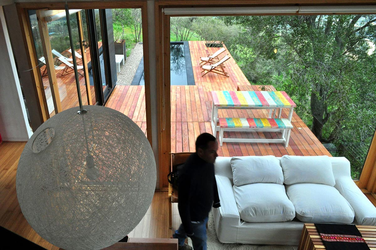 Sofa, Glass Walls, Terrace, Pool, Pangal Cabin in Casablanca, Chile