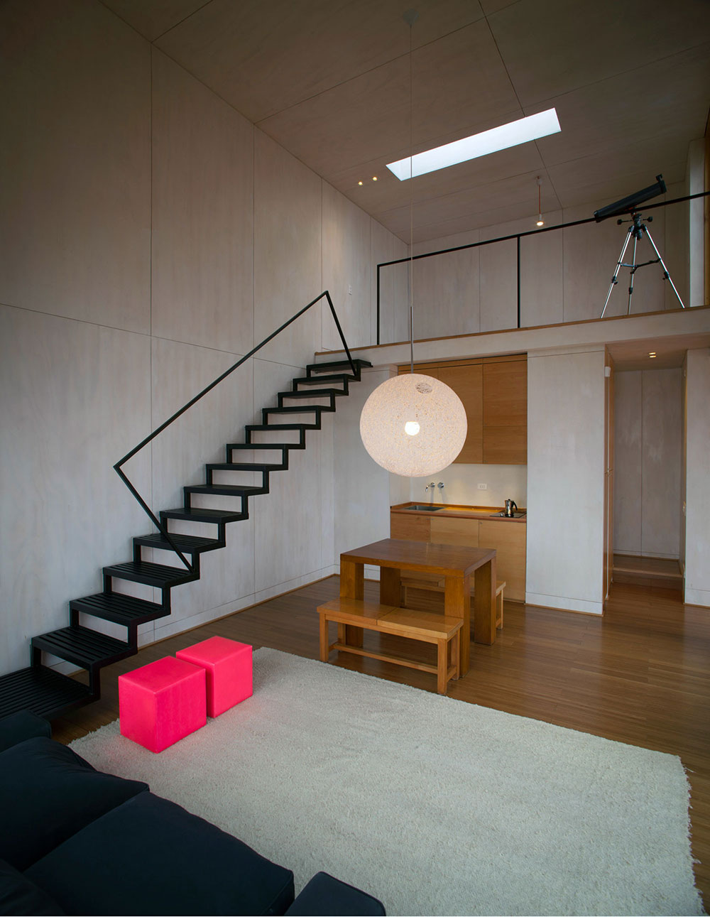 Stairs, Kitchen, Living Space, Pangal Cabin in Casablanca, Chile
