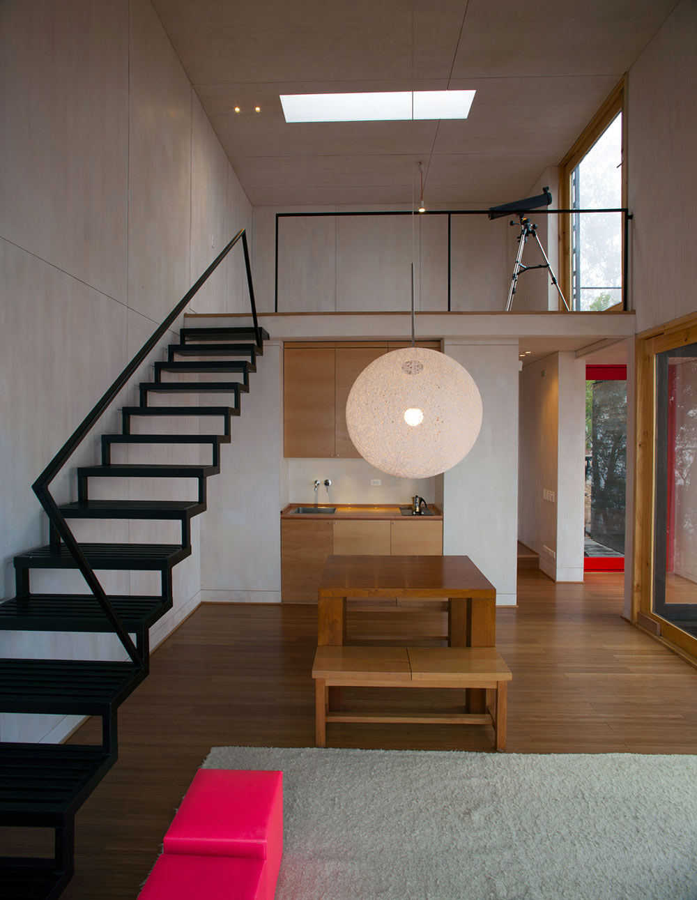 Stairs, Lighting, Dining, Kitchen, Pangal Cabin in Casablanca, Chile