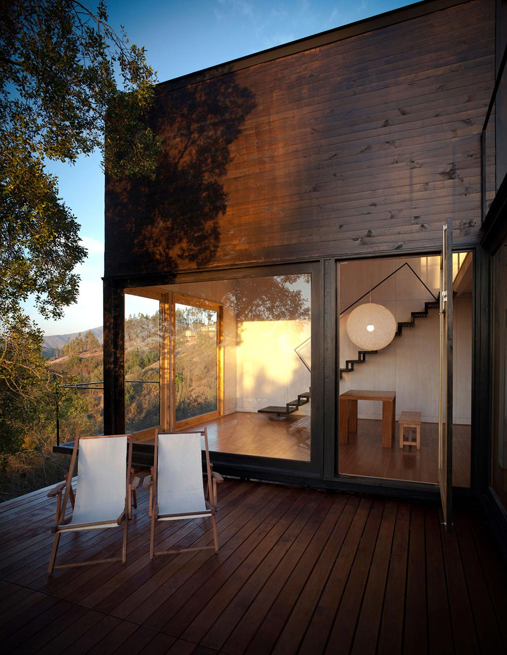 Wooden Deck, Balcony, Pangal Cabin in Casablanca, Chile