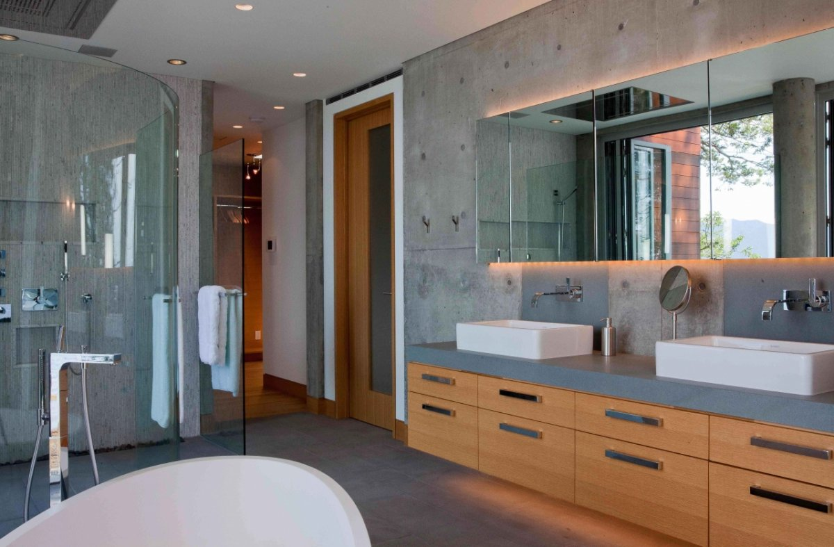 Bathroom, Exposed Concrete, Pender Harbour House in Pender Harbour, BC, Canada
