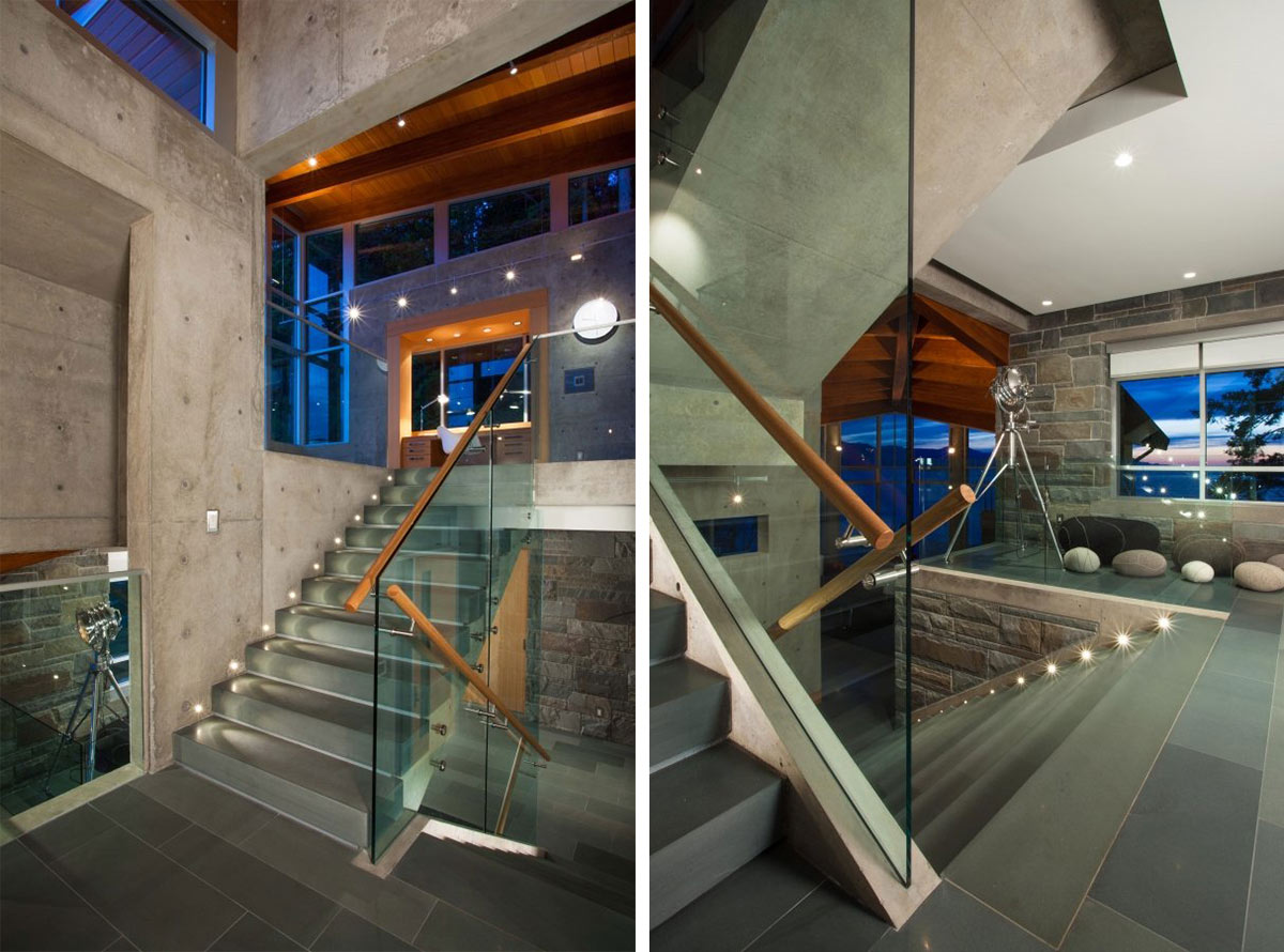 Stairs, Exposed Concrete, Pender Harbour House in Pender Harbour, BC, Canada