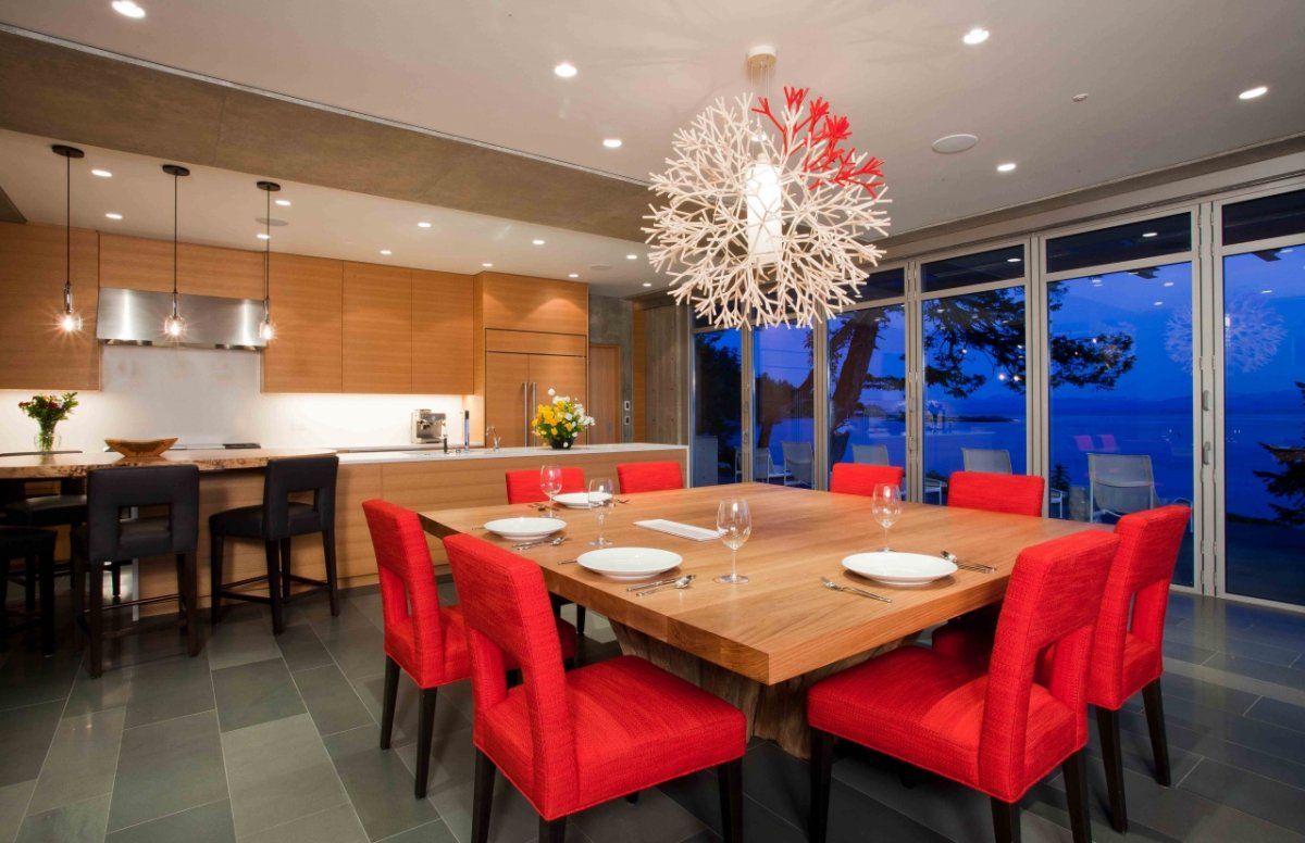 Kitchen, Dining Space, Views, Pender Harbour House in Pender Harbour, BC, Canada