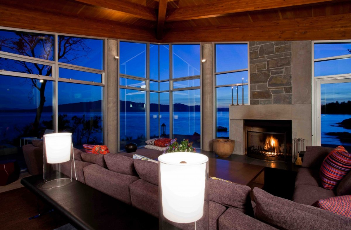 Living Space, Views, Fireplace, Pender Harbour House in Pender Harbour, BC, Canada
