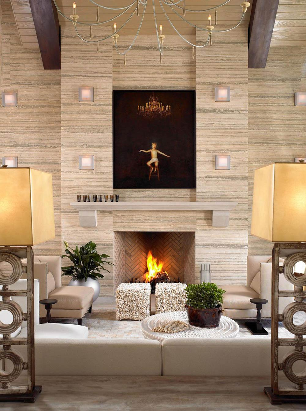 Fireplace, Pool House & Wine Cellar in Nashville, Tennessee by Beckwith Interiors