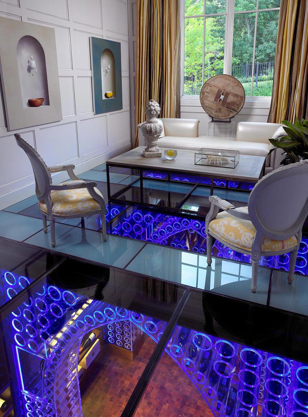Glass Floor, Wine Cellar, Pool House & Wine Cellar in Nashville, Tennessee by Beckwith Interiors