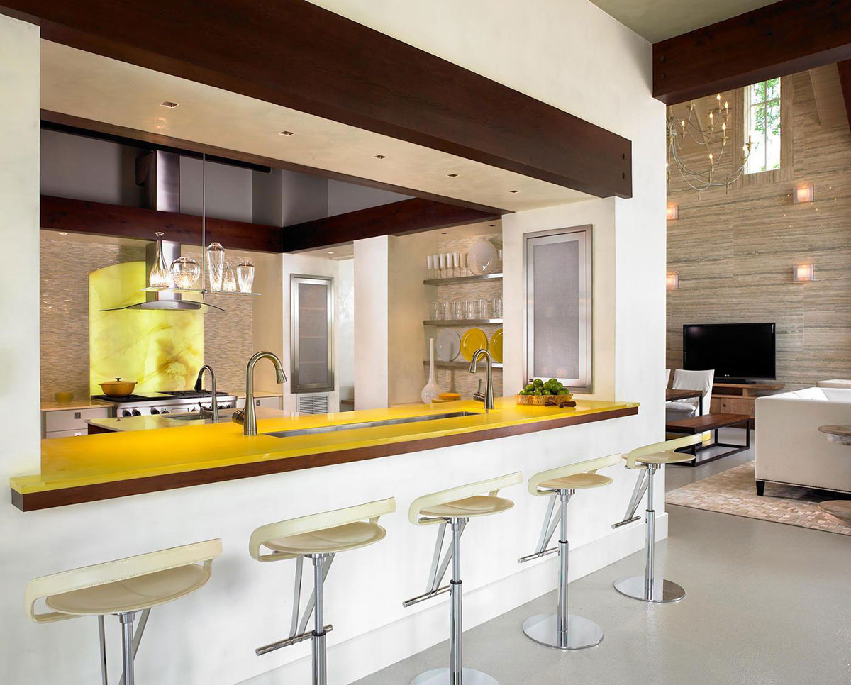 Yellow Counter, Kitchen, Pool House & Wine Cellar in Nashville, Tennessee by Beckwith Interiors