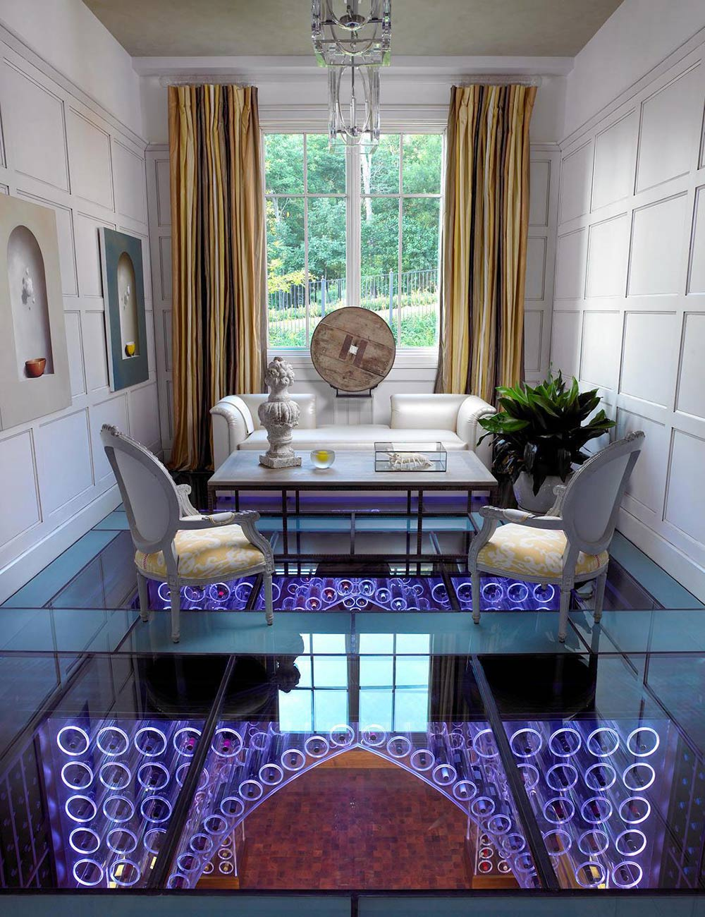 Living Space, Glass Floor, Wine Cellar, Pool House & Wine Cellar in Nashville, Tennessee by Beckwith Interiors