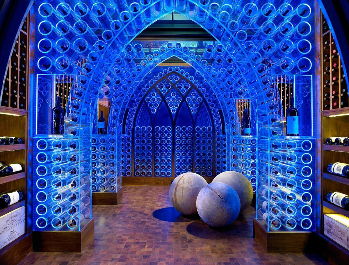 Wine Cellar, Blue Lighting, Pool House & Wine Cellar in Nashville, Tennessee by Beckwith Interiors