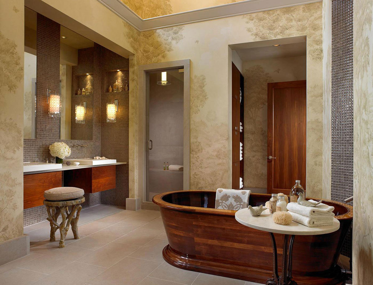 Wooden Bath, Pool House & Wine Cellar in Nashville, Tennessee by Beckwith Interiors