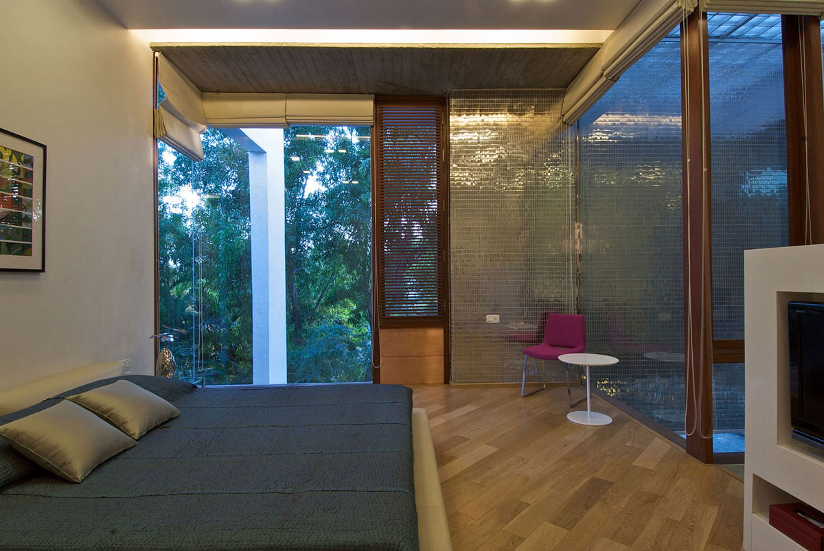 Bedroom, Glass Walls, Poona House in Mumbai, India by Rajiv Saini
