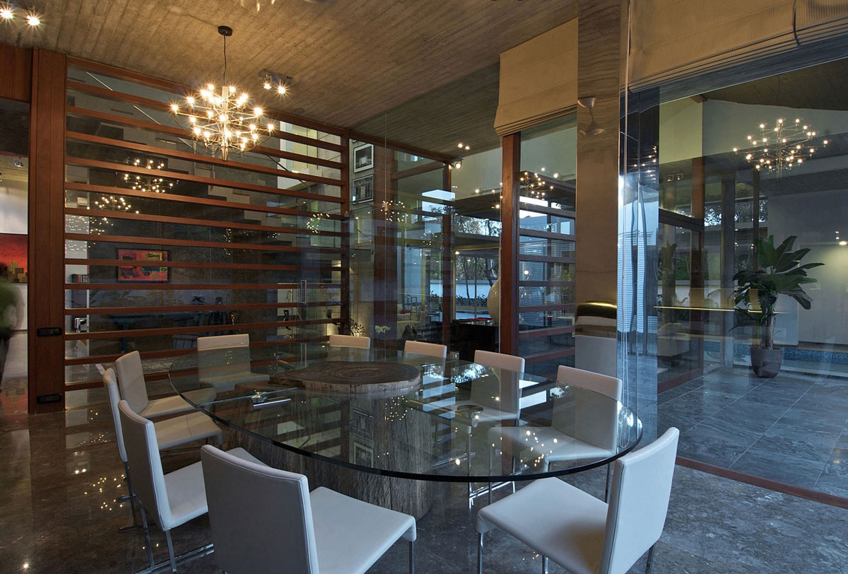 Glass Walls, Dining Space, Poona House in Mumbai, India by Rajiv Saini