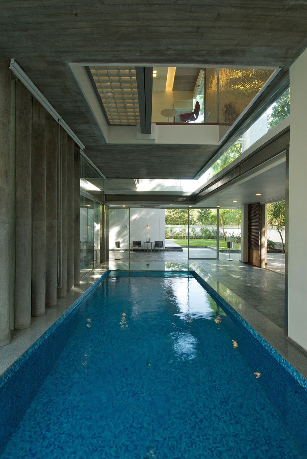 Indoor Pool, Glass Walls, Poona House in Mumbai, India by Rajiv Saini