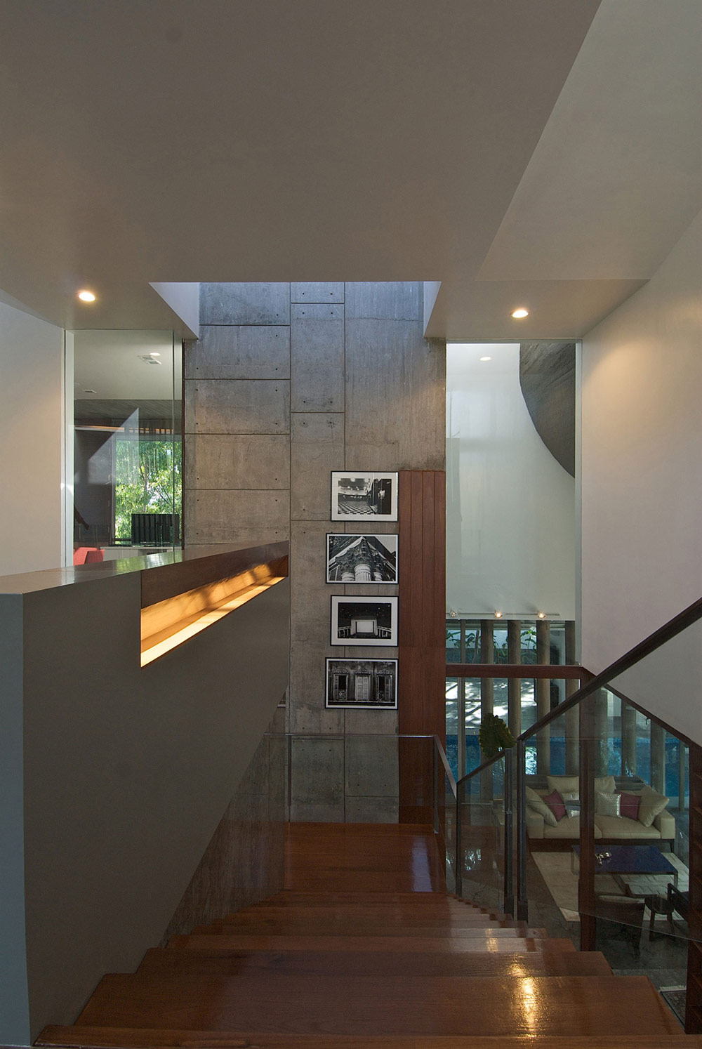 Wood & Glass Staircase, Poona House in Mumbai, India by Rajiv Saini