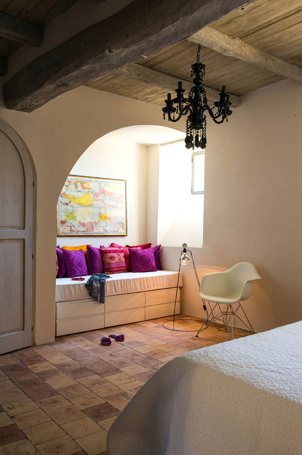 Bedroom, Dark Chandelier, Stunning Renovation in Civita di Bagnoregio by Studio F