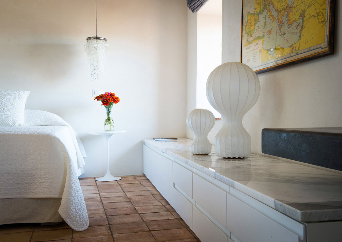 Bedroom, Marble Tops, Stunning Renovation in Civita di Bagnoregio by Studio F