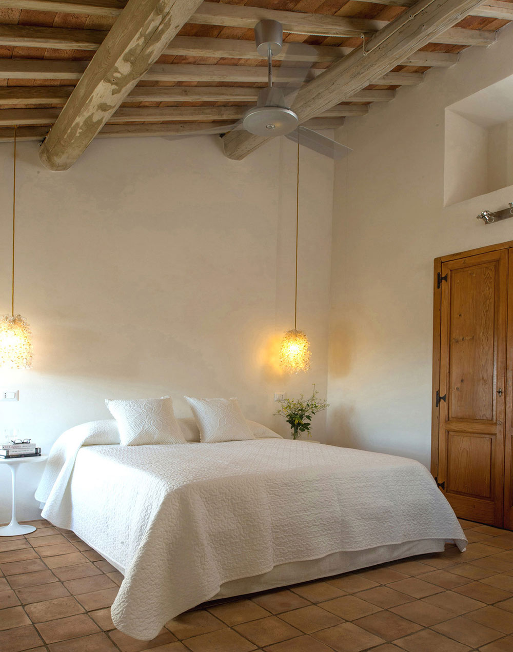 Bedroom, Tiles, Lighting, Stunning Renovation in Civita di Bagnoregio by Studio F