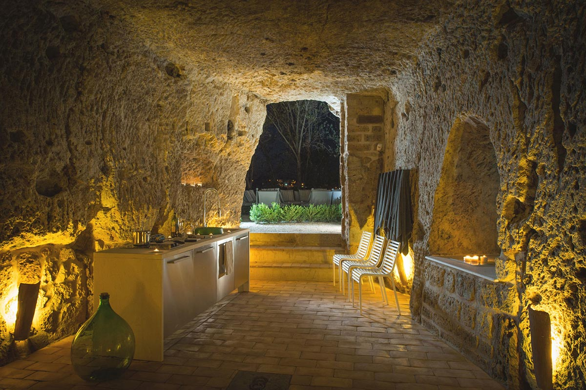 Underground Cave, Kitchen, Stunning Renovation in Civita di Bagnoregio by Studio F