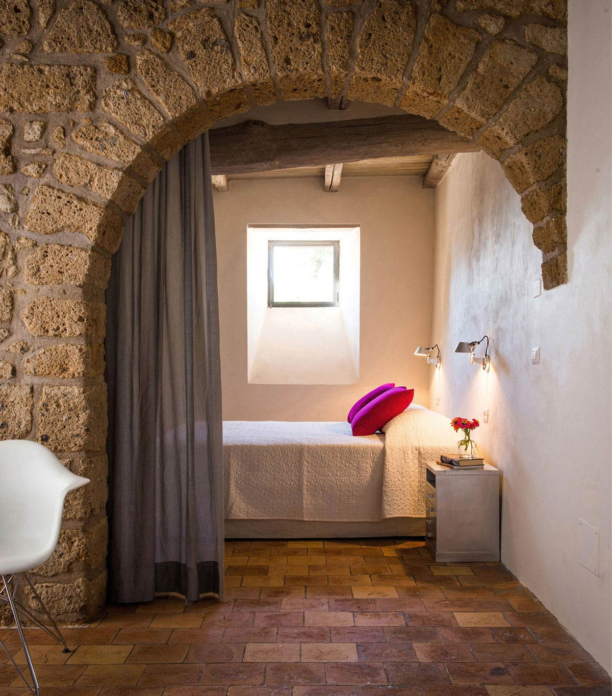 Stone Arch, Bedroom, Stunning Renovation in Civita di Bagnoregio by Studio F