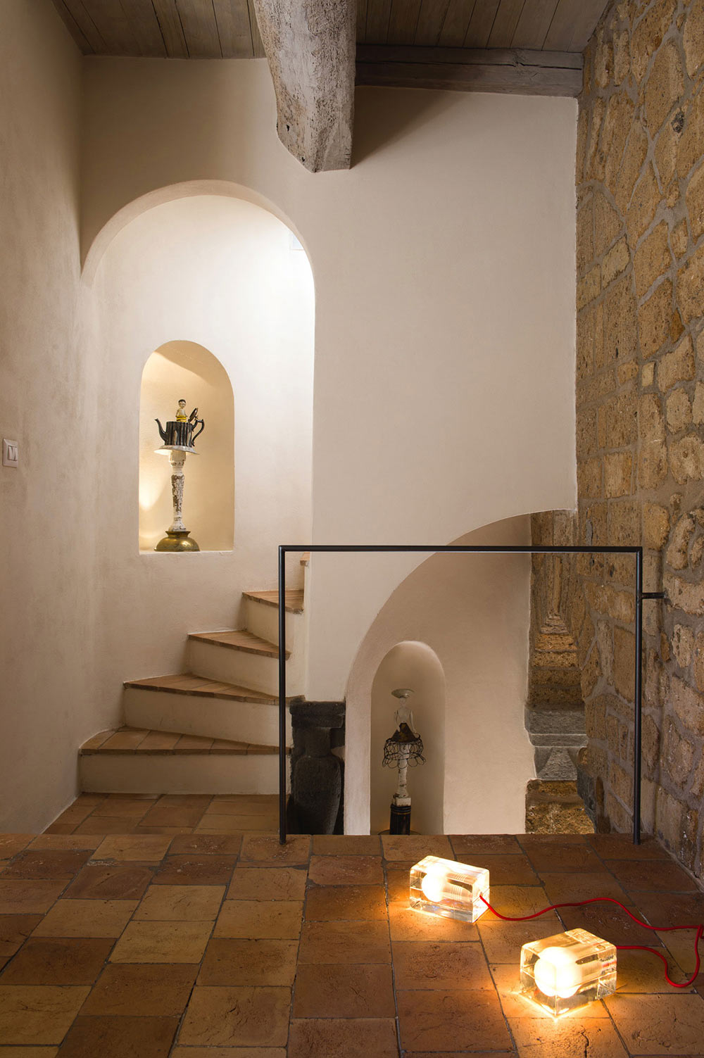 Stone Staircase, Beams, Stunning Renovation in Civita di Bagnoregio by Studio F