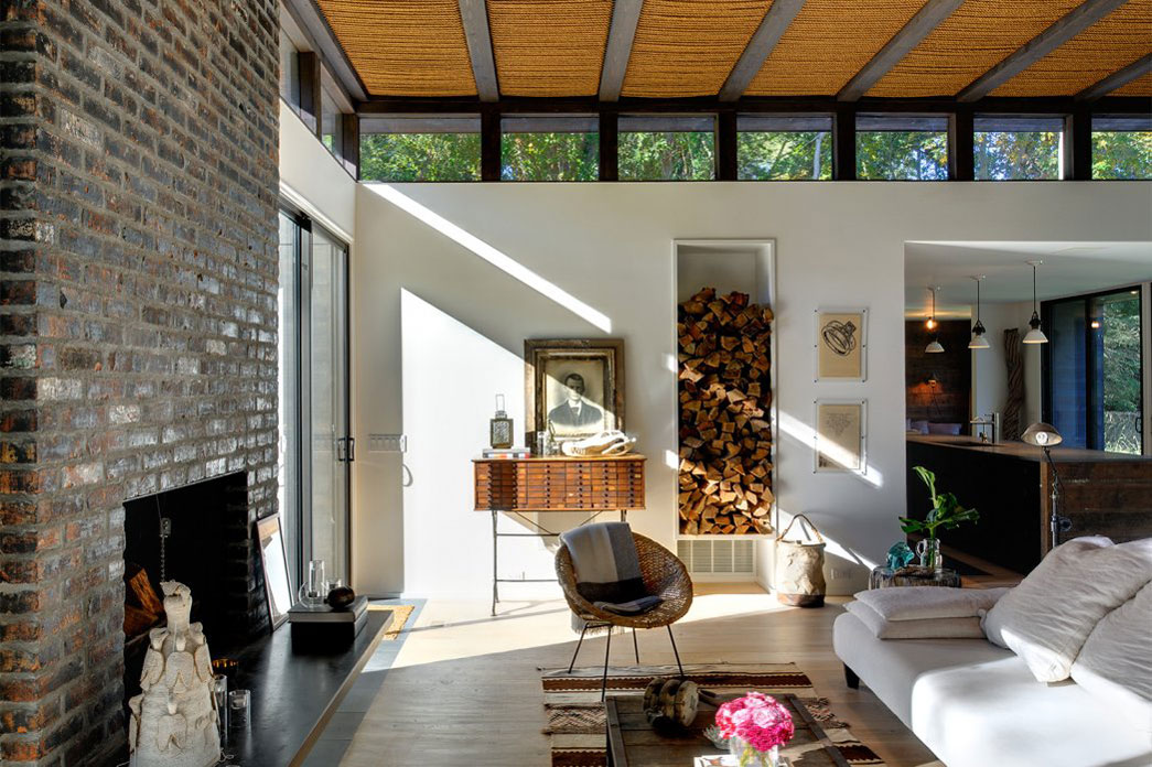 Brick Fireplace, Rug, Sofa Living Space, Robins Way Residence in Amagasett, New York by Bates Masi Architects