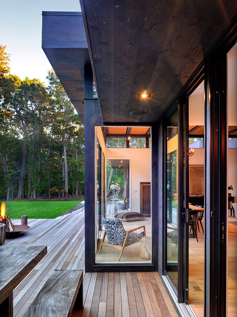 Fire Pit, Wooden Decking, Robins Way Residence in Amagasett, New York by Bates Masi Architects