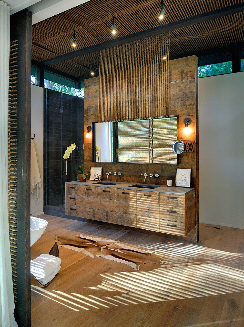 Rustic Bathroom, Glass Shower, Robins Way Residence in Amagasett, New York by Bates Masi Architects