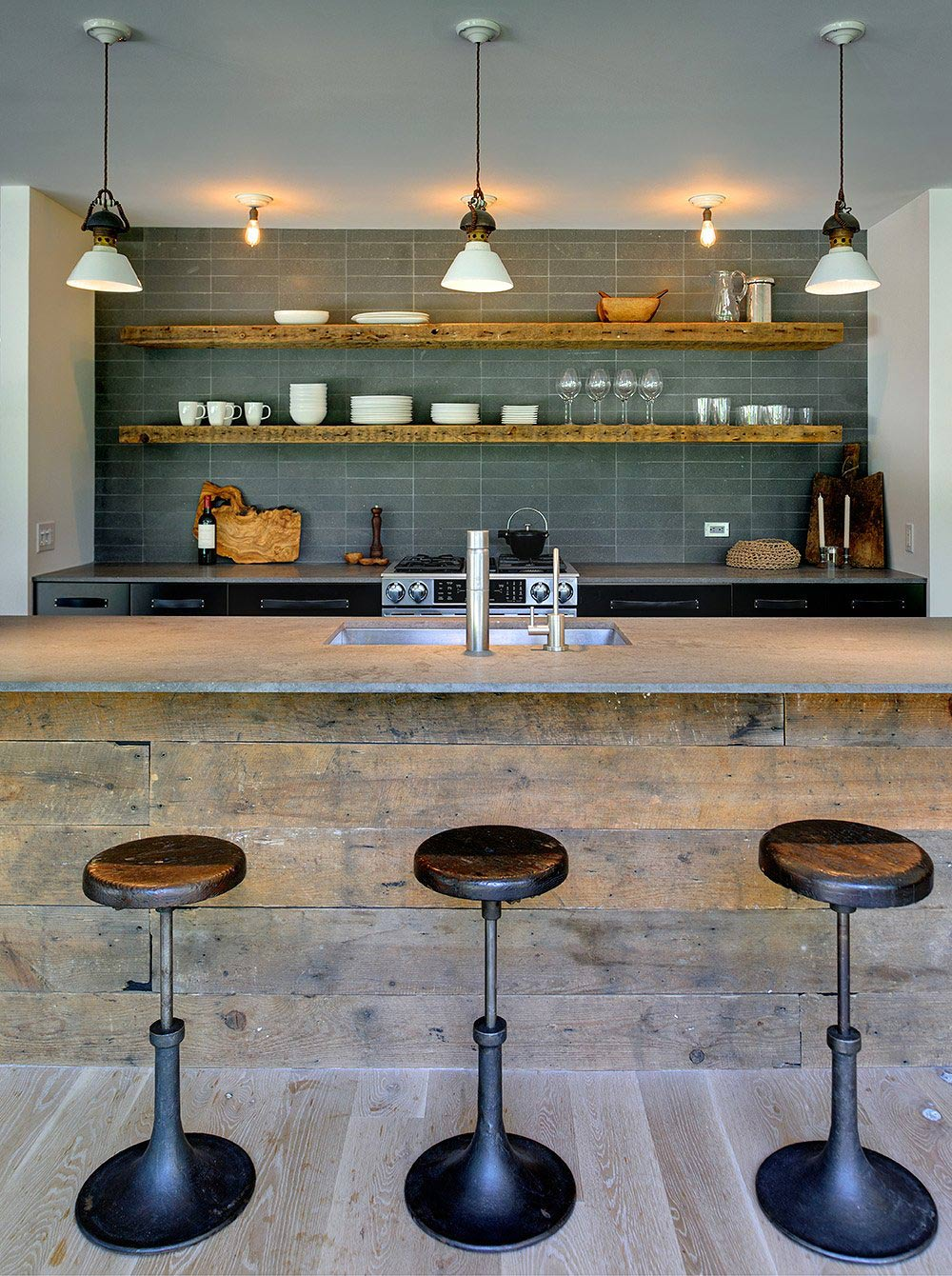 Rustic Kitchen, Breakfast Bar, Robins Way Residence in Amagasett, New York by Bates Masi Architects