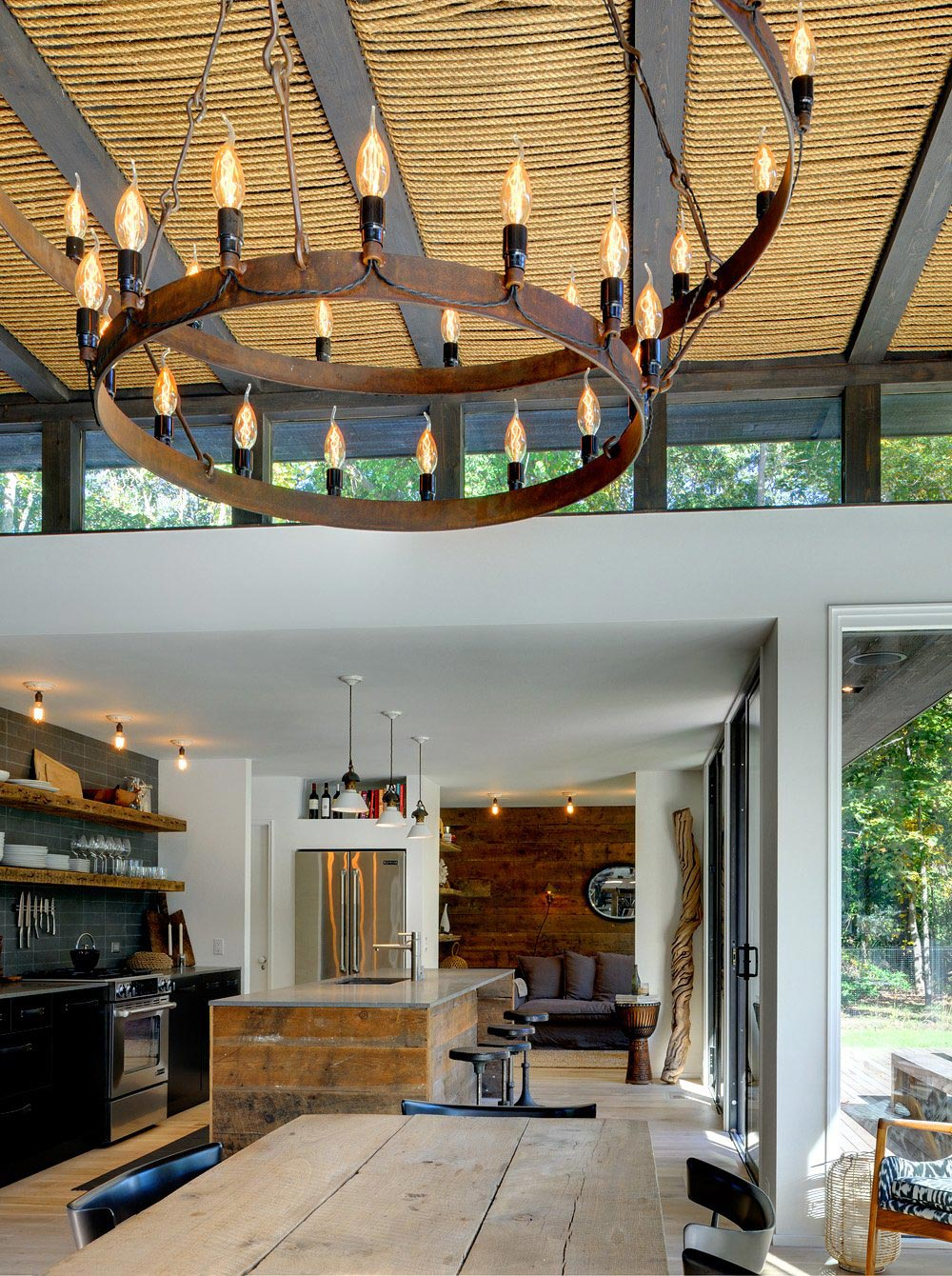 Rustic Kitchen Island, Lighting, Robins Way Residence in Amagasett, New York by Bates Masi Architects